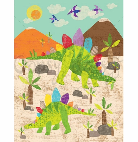 Dinosaur Fun - Stegosaurus Canvas Wall Art
