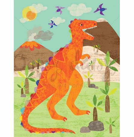 Dinosaur Fun - T-Rex Canvas Wall Art