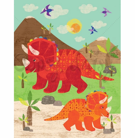 Dinosaur Fun - Triceratops Canvas Wall Art