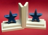 Distressed Blue Star Bookends with White Base