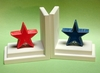 Distressed Red and Blue Star Bookends with White Base