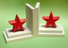 Distressed Red Star Bookends with White Base