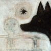 Dog Head Small Vintage Art Print on Wood