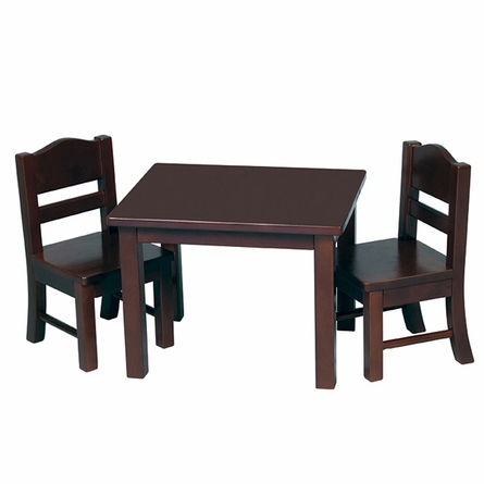 Doll Table and Chair Set in Espresso