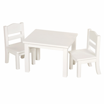 Doll Table and Chairs - White