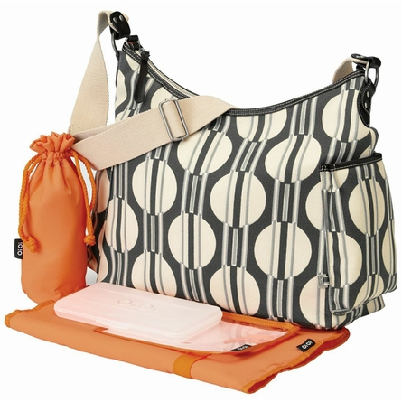 Dot Stripe Hobo Diaper Bag with Tangerine Lining