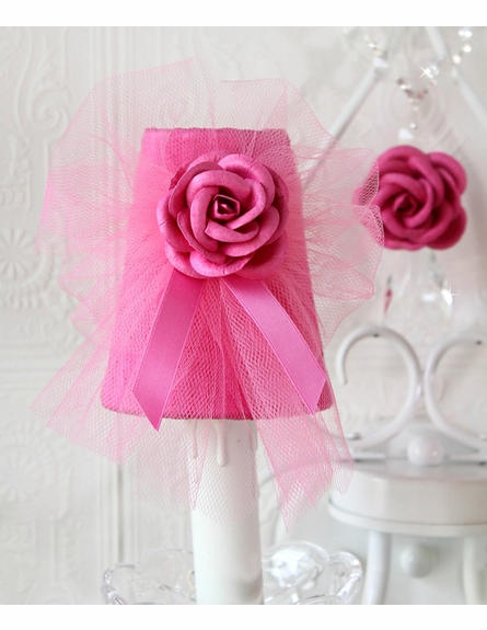 Double Light Wall Sconce with Hot Pink Tulle Shades