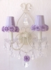 Double Light Wall Sconce with Lavender Rose Shades