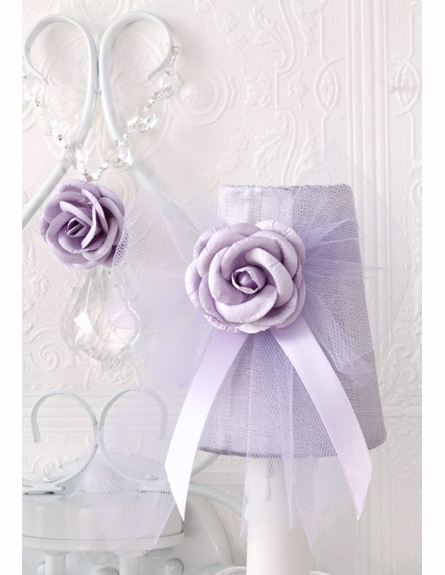 Double Light Wall Sconce with Lavender Tulle Shades