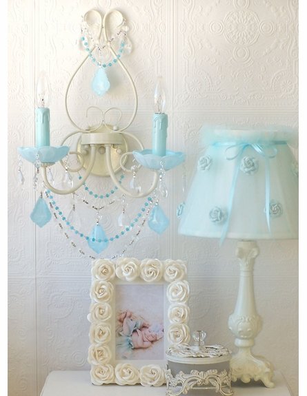 Double Light Wall Sconce with Milky Opal Aqua-Blue Crystals