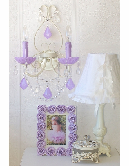 Double Light Wall Sconce with Milky Opal Lavender Crystals