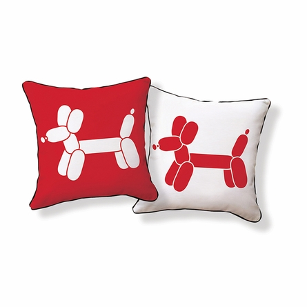 Doxie Red Balloon Reversible Throw Pillow