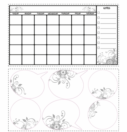 Dry Erase Calendar Peel & Stick Applique