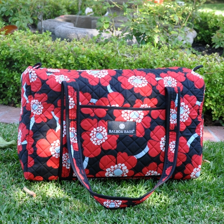 Duffle Diaper Bag in Red Poppy