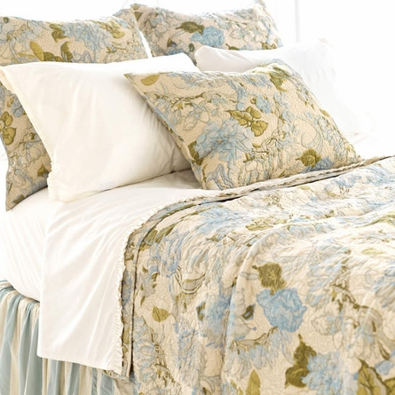 Dusty Floral Blue Quilt
