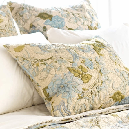 Dusty Floral Blue Quilted Euro Sham