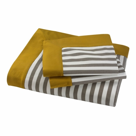 DwellStudio Draper Stripe Duvet Set in Ash - Full/Queen