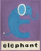 E is for Elephant Purple Canvas Reproduction