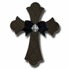 Ebony Brocade Cross Coal Wall Plaques