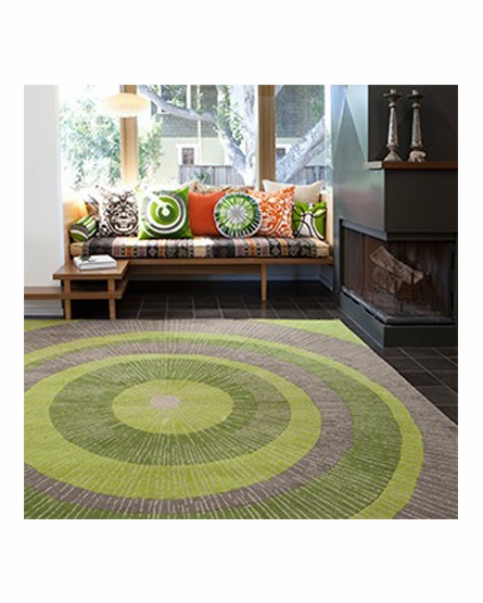 Eccentric Area Rug in Green and Sable