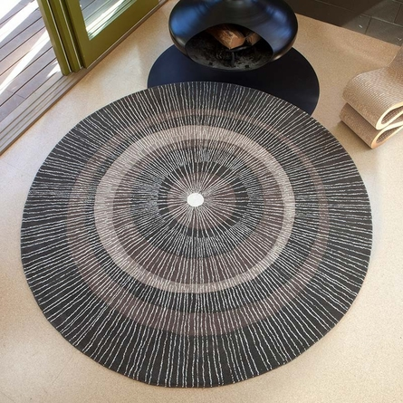 Eccentric Round Rug in Dark Sable