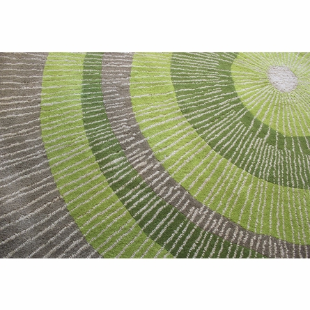 Eccentric Round Rug in Green and Sable