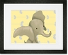 Edison the Elephant Yellow and Grey Framed Art Print
