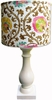 Eggshell White Column Lamp with Filigree Shade