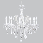 Eight Arm Pageant White Beaded Chandelier with Glass Center