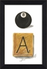 Eight Ball and Letter Chip Framed Wall Art