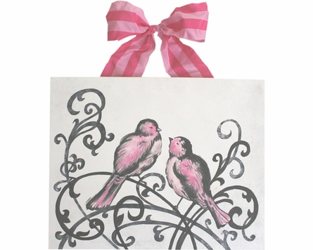 Elegant Love Birds Hand Painted Canvas