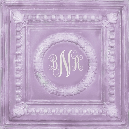 Elegant Square Lavender Metal Wall Plaque
