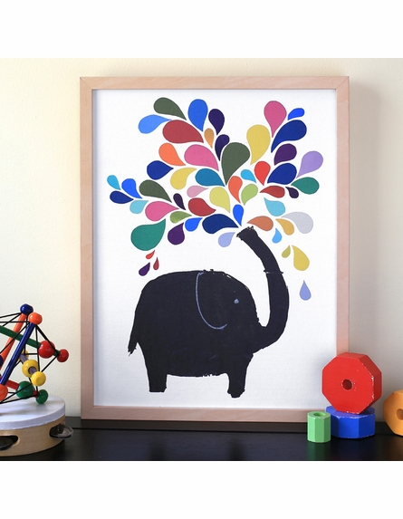 Elephant Afternoon Framed Canvas Wall Art