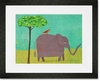 Elephant and Red Bird Framed Art Print