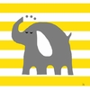 Elephant and Stripes Canvas Wall Art