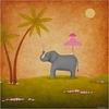 Elephant April Showers Canvas Reproduction