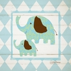 Elephant Argyle Canvas Wall Art