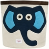 Elephant Blue Canvas Storage Bin