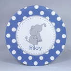 Elephant Dots Personalized 3-Piece Dinnerware Set