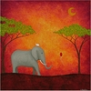 Elephant Encounter Canvas Reproduction