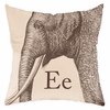 Elephant in Sand Throw Pillow