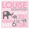 Elephant Love Girl Personalized Canvas Birth Announcement