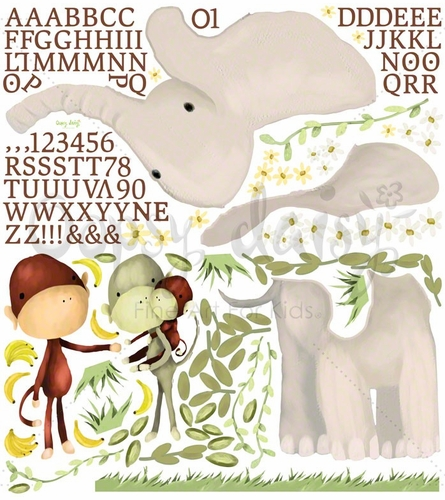 Elephant & Monkey Trio Peel & Place Wall Stickers