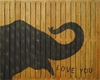 Elephant Vintage Slatted Frame Wall Plaque in Black