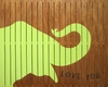 Elephant Vintage Slatted Frame Wall Plaque in Green