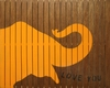 Elephant Vintage Slatted Frame Wall Plaque in Orange