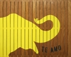 Elephant Vintage Slatted Frame Wall Plaque in Yellow