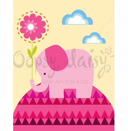 Elephant with Flower Canvas Wall Art