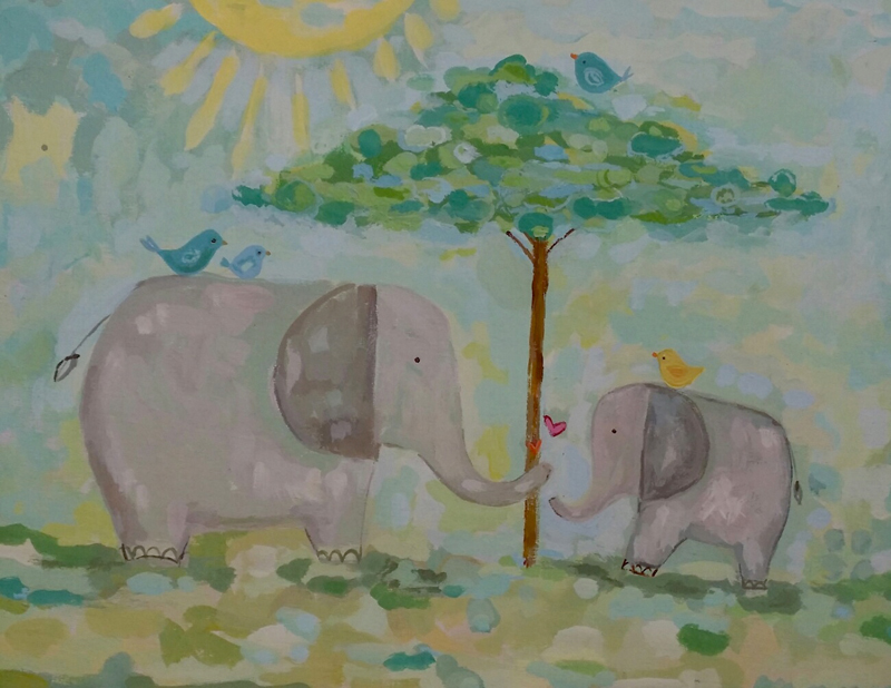 Elephant Love Art Elephants Love at First Sight Art Print