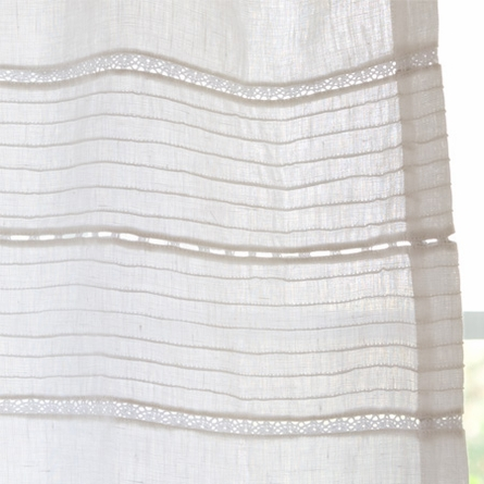 Elisa White Linen Curtain Panel